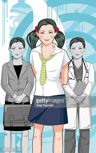 girl thinking about future career options - school uniform stock illustrations, clip art, cartoons, & icons