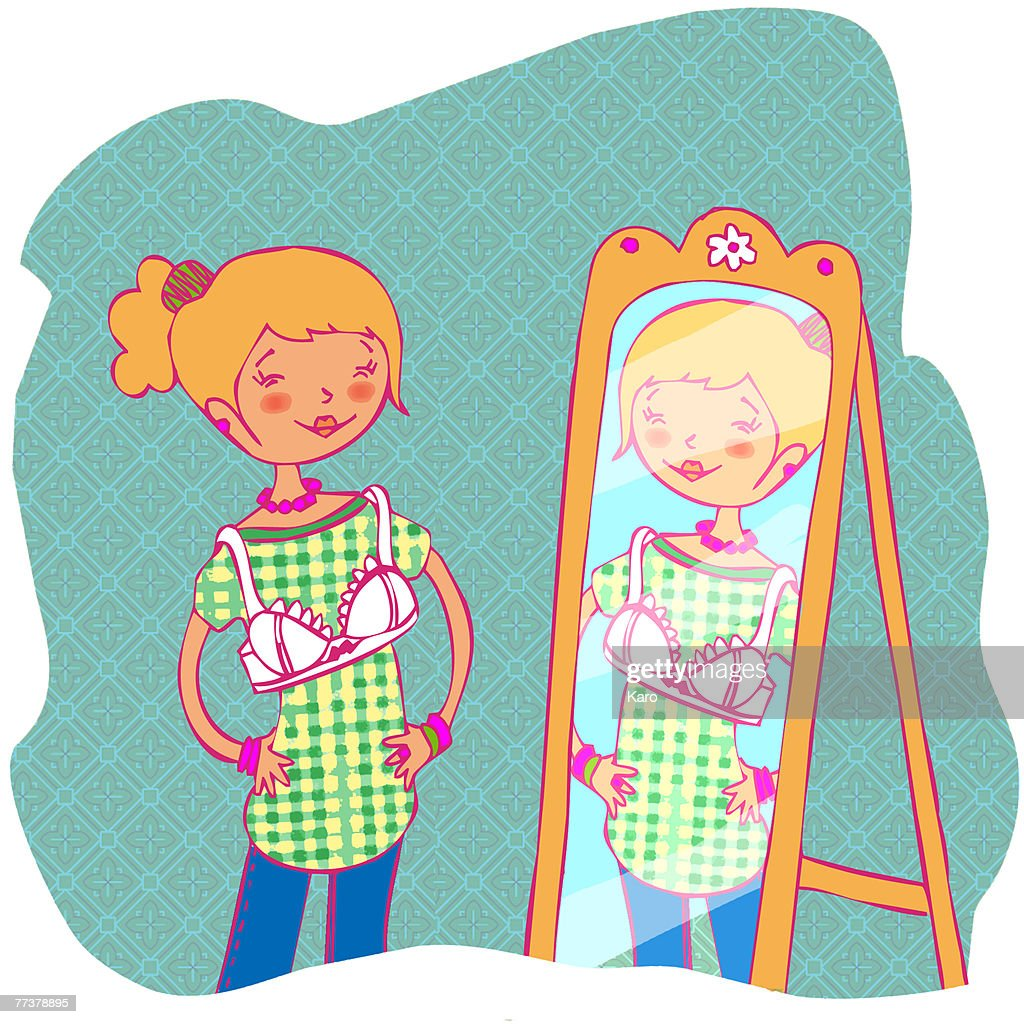 A girl trying on a bra while looking in the mirror : Illustration