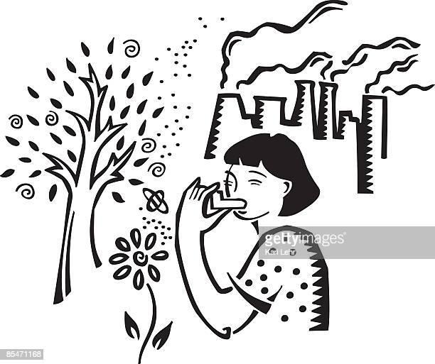 A girl using an inhaler and asthma stimulants