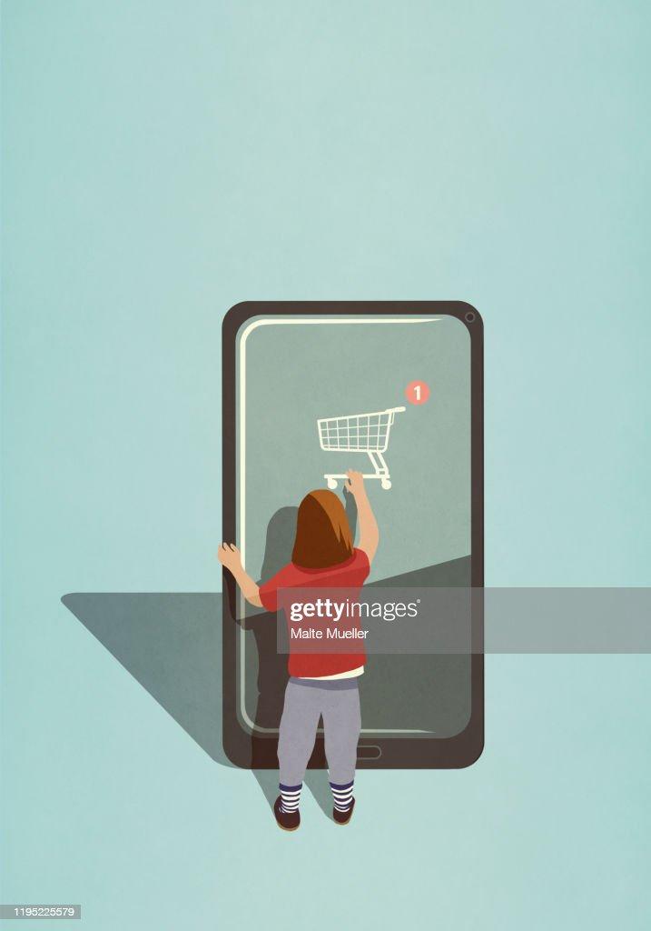 Girl using online shopping app on large smart phone : Stock Illustration