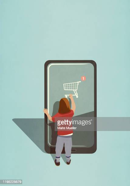 girl using online shopping app on large smart phone - image technique stock illustrations