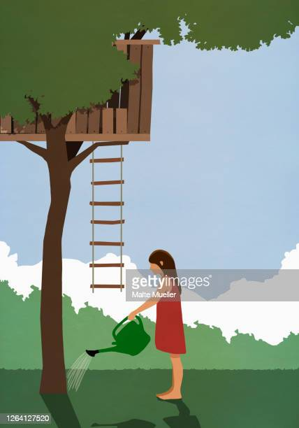 girl watering tree below tree house - outdoors stock illustrations