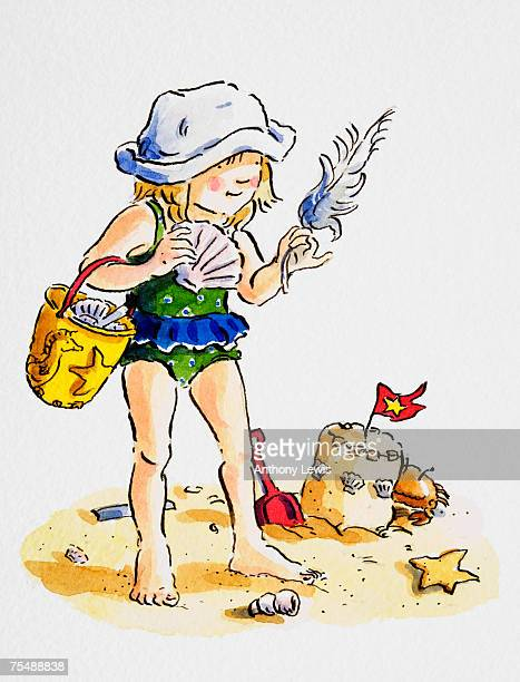 girl wearing hat and swimming costume standing on beach by sand castle, holding fan-shaped shell in one hand and white feather in the other, bucket full of collected objects hanging on her arm, cartoon - other stock illustrations, clip art, cartoons, & icons