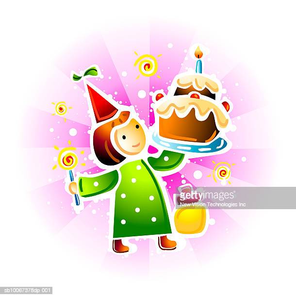 girl wearing party hat carrying birthday cake - dessert topping stock illustrations, clip art, cartoons, & icons