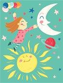 Girl with ballons, Moon, Sun, Planet and Stars