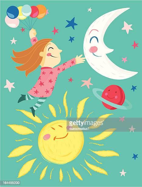 ilustraciones, imágenes clip art, dibujos animados e iconos de stock de chica con ballons, moon, sol, el planeta y estrellas - sol en la cara