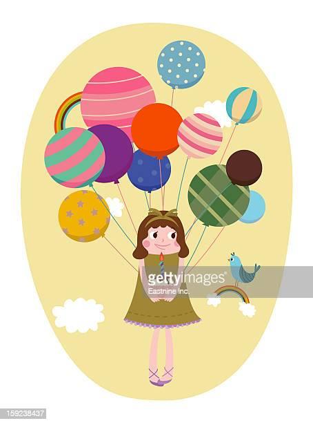 ilustrações, clipart, desenhos animados e ícones de girl with balloons - molho de chocolate