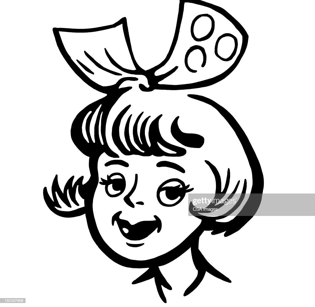 Girl With Bow in Her Hair : stock illustration