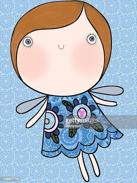 a girl with butterfly wings - animal limb stock illustrations, clip art, cartoons, & icons