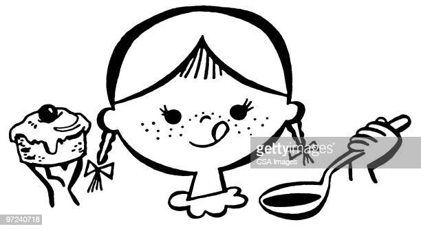 girl with desserts - cake stock illustrations