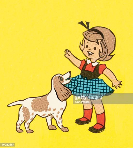 girl with dog - one girl only stock illustrations, clip art, cartoons, & icons