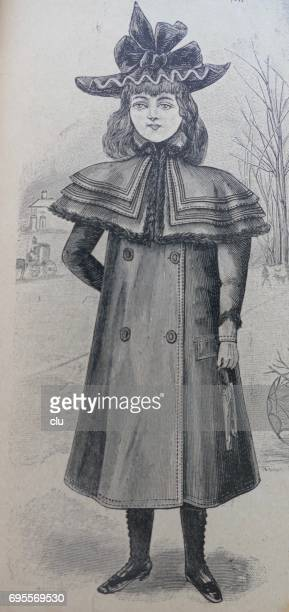 girl with fasionable clothing 19. jahrhundert - glücklichsein stock illustrations