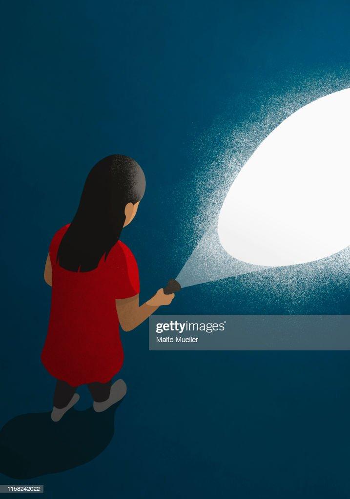 Girl with flashlight in dark : stock illustration