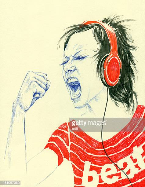 girl with headphone singing along with music - punk person stock illustrations, clip art, cartoons, & icons