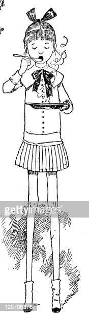 girl with long legs eats soup - skirt stock illustrations