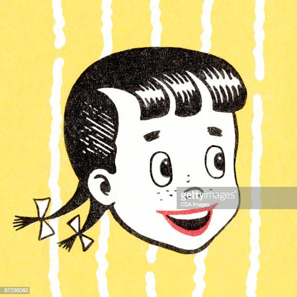 girl with pigtails - one girl only stock illustrations, clip art, cartoons, & icons