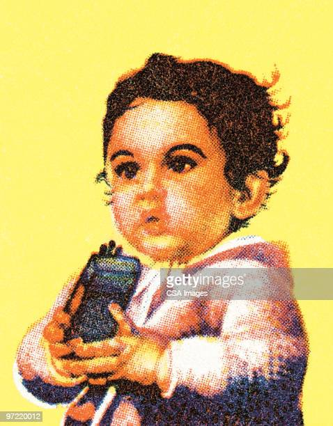 girl with toy - toddler stock illustrations