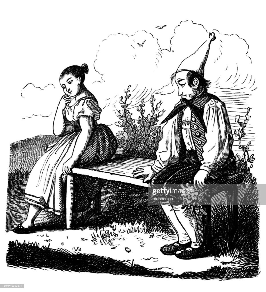 Girlfriend and boyfriend sitting on bench, beginning to flirt with each other in very shy way : stock illustration