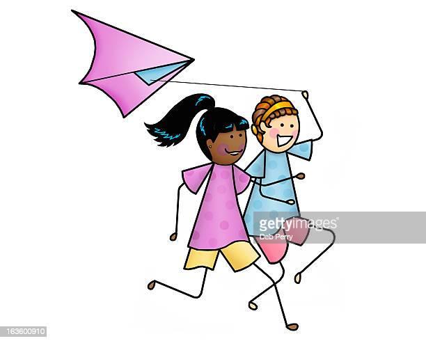 girls flying kite - ポニーテール点のイラスト素材/クリップアート素材/マンガ素材/アイコン素材