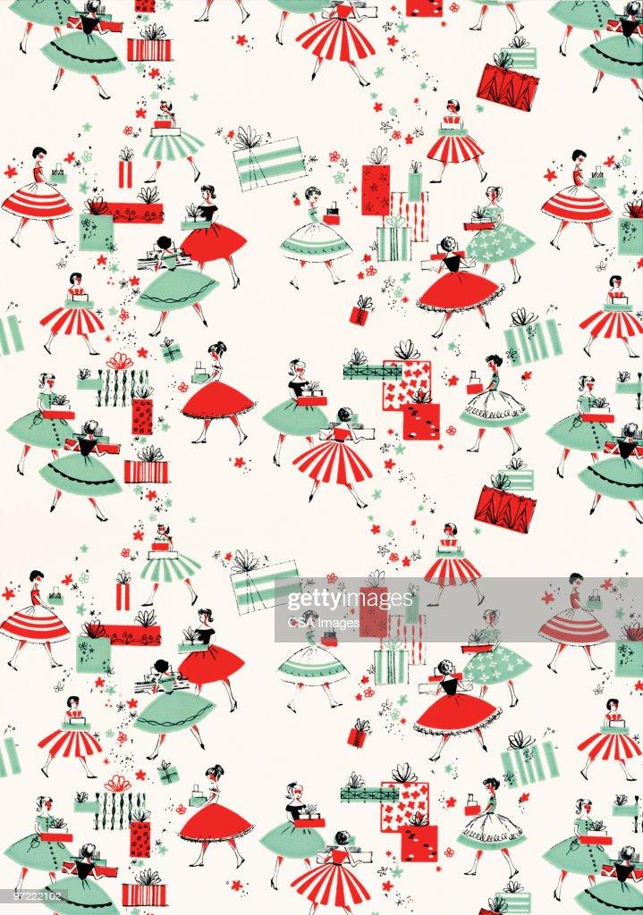 Girls in dresses pattern : Stock Illustration