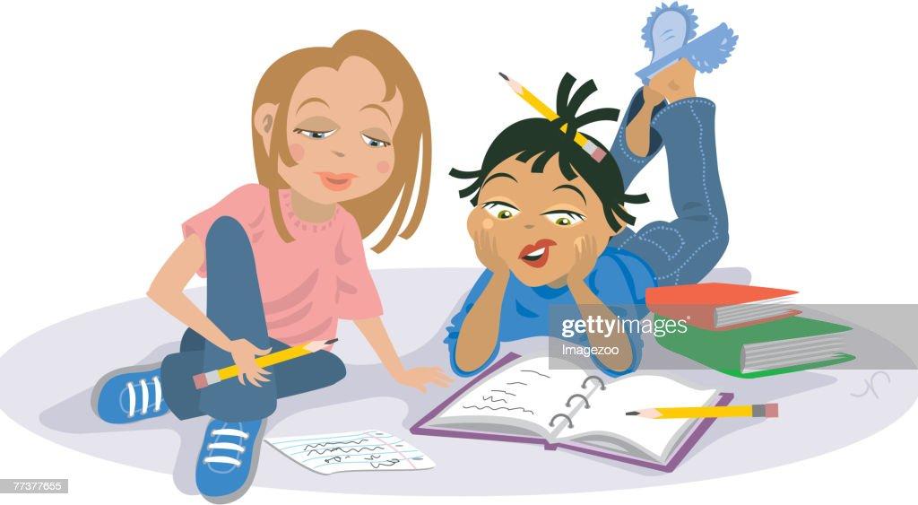 girls studying : Illustration