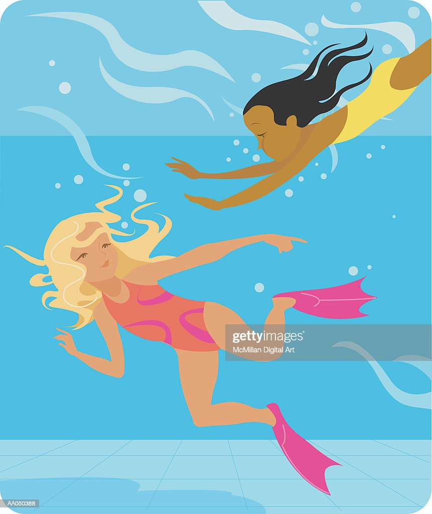 Girls Swimming In Pool With Flippers Underwater View stock