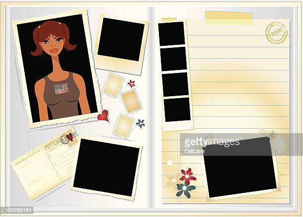 girly scrapbook - gift tag note stock illustrations, clip art, cartoons, & icons