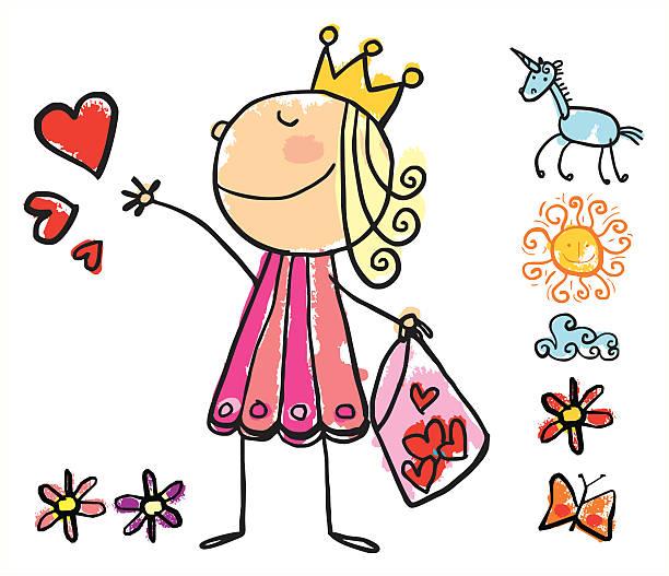 giving hearts princess - unicorn stock illustrations