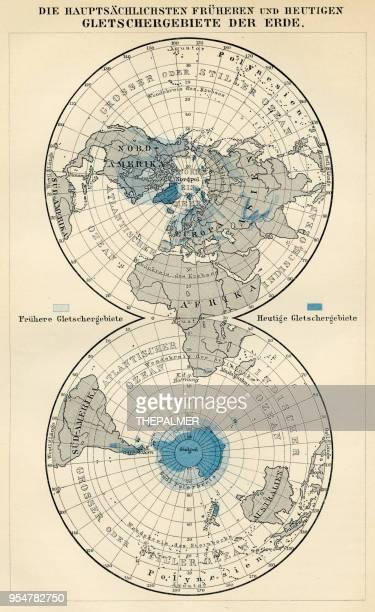 ilustrações, clipart, desenhos animados e ícones de áreas de glaciares da terra 1894 - cartografia