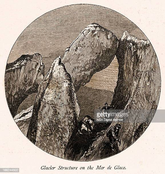 glacier structure on the mer de glace, high alps - steep stock illustrations, clip art, cartoons, & icons