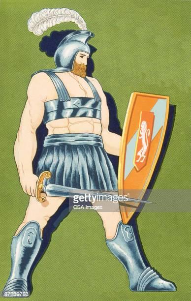 gladiator - work helmet stock illustrations
