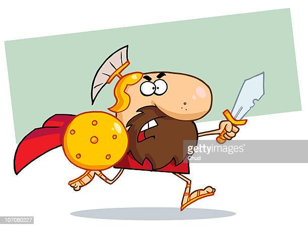 gladiator running with a shield and sword - gladiator stock illustrations, clip art, cartoons, & icons