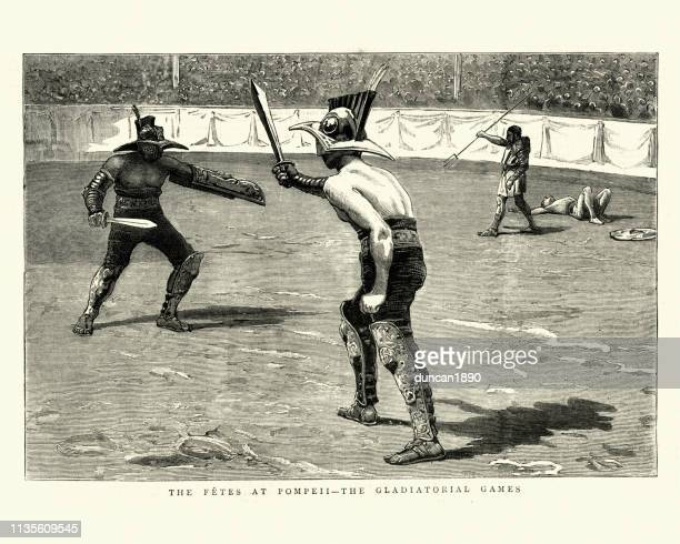 gladiatorial games, gladiators fighting in the arena, pompeii - gladiator stock illustrations