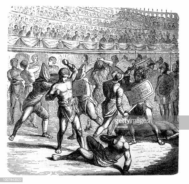 Gladiators fight in Ancient Rome