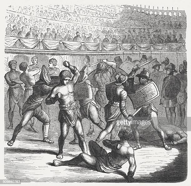 gladiators fight in ancient rome, wood engraving, published in 1864 - gladiator stock illustrations, clip art, cartoons, & icons