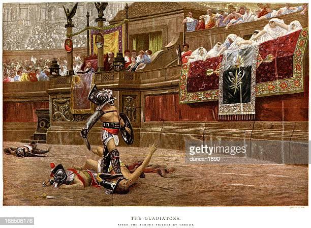 ilustrações de stock, clip art, desenhos animados e ícones de gladiadores - luta de espadas
