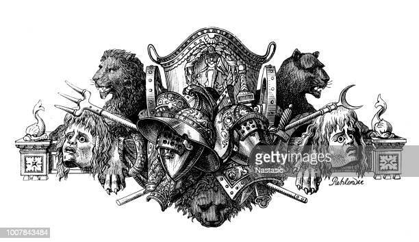 ilustrações de stock, clip art, desenhos animados e ícones de gladiators weapons and armors - luta de espadas
