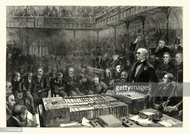 stockillustraties, clipart, cartoons en iconen met de peroratie van gladstone tijdens het home rule-debat, het lagerhuis - eerste minister