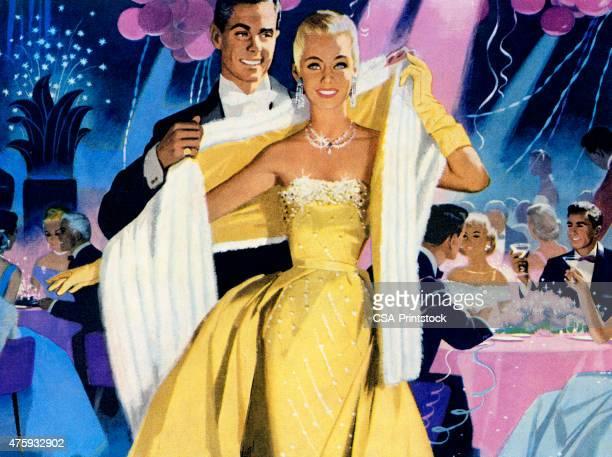 glamorous couple - gala stock illustrations