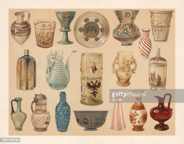 glass art industry, lithograph, published in 1897 - iranian culture stock illustrations, clip art, cartoons, & icons