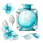 glass bottle with blue cologne eau