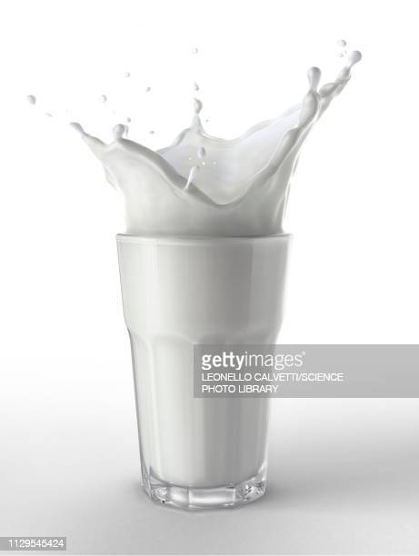 glass full of fresh milk with splash, illustration - food and drink stock illustrations