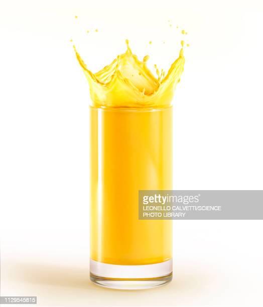 glass full of orange juice with splash, illustration - orange juice stock illustrations, clip art, cartoons, & icons