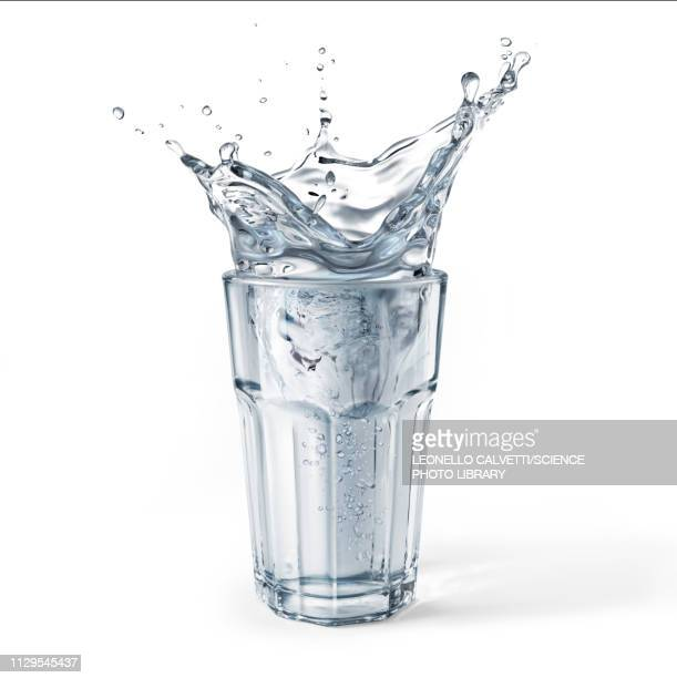 glass full of water with splash, illustration - food and drink stock illustrations
