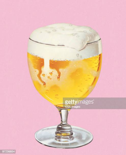 glass of beer - food and drink stock illustrations