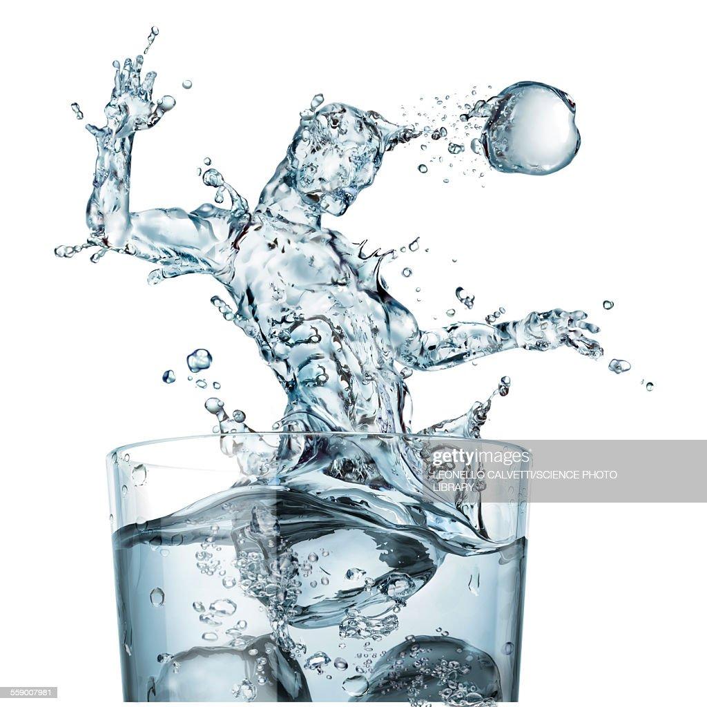 Glass of water and splashes, illustration : stock illustration