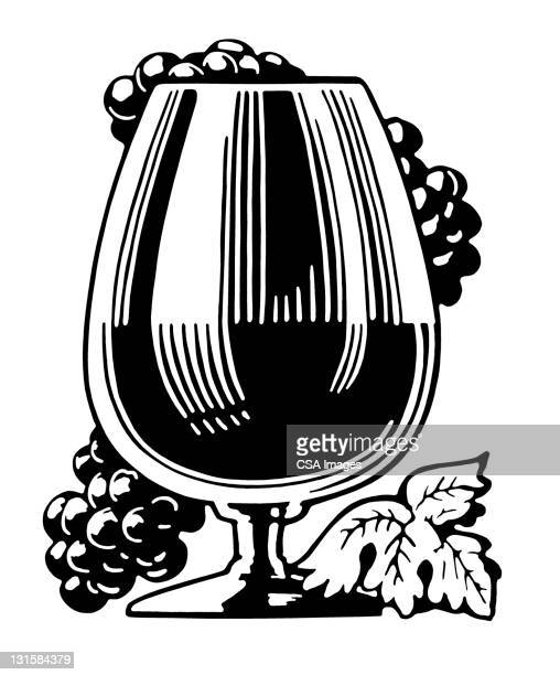 glass of wine with grapes - wine stock illustrations