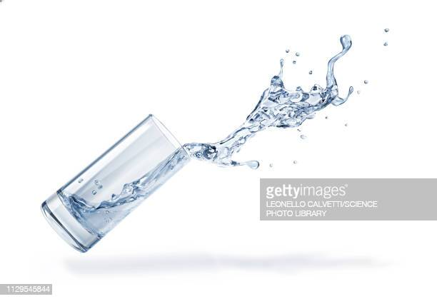 glass with spilling water splash, illustration - food and drink stock illustrations