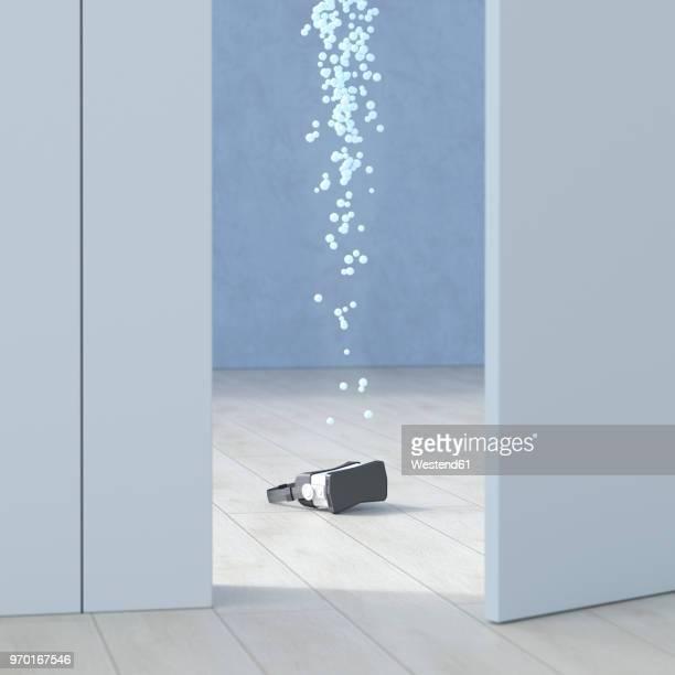 VR glasses in a room behind ajar door, 3d rendering