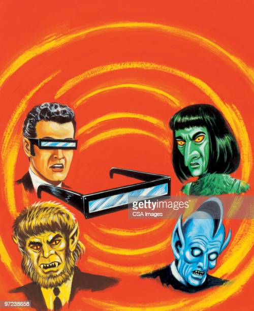 3d glasses, man and various monsters - adults only stock illustrations